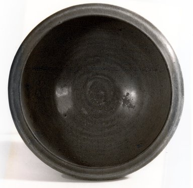 <em>Bowl</em>, 960-1127. Yue ware, glazed grey-buff stoneware, 2 7/8 x 6 3/8 in. (7.3 x 16.2 cm). Brooklyn Museum, Gift of Dr. Andrew Dahl, 83.112.2. Creative Commons-BY (Photo: Brooklyn Museum, CUR.83.112.2_bw.jpg)