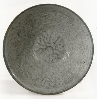 <em>Bowl</em>, 1127-1279. Porcelain with qingbai glaze, 2 9/16 x 7 3/8 in. (6.5 x 18.7 cm). Brooklyn Museum, Gift of Dr. Andrew Dahl, 83.112.4. Creative Commons-BY (Photo: Brooklyn Museum, CUR.83.112.4_bw.jpg)