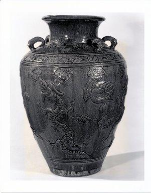 <em>Storage Jar</em>, 1368-1644. Buff earthenware, 21 1/2 x 14 1/2 in. (54.6 x 36.8 cm). Brooklyn Museum, Gift of Dr. Andrew Dahl, 83.112.5. Creative Commons-BY (Photo: Brooklyn Museum, CUR.83.112.5_bw.jpg)