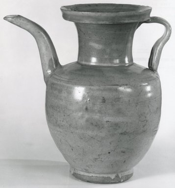 <em>Ewer (Zhihu)</em>, 1271-1368. High-fired green ware (celadon), 8 1/4 x 5 7/16 x 7 5/8 in. (21 x 13.8 x 19.4 cm). Brooklyn Museum, Gift of Dr. and Mrs. John P. Lyden, 83.168.17. Creative Commons-BY (Photo: Brooklyn Museum, CUR.83.168.17_bw.jpg)