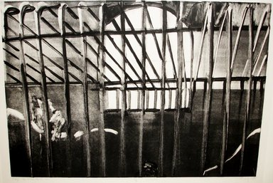 Michael Mazur (American, 1935-2009). <em>Cage-Central Park Zoo</em>, 1974. Monotype-cognate impression on paper, sheet: 23 1/2 x 31 1/2 in. (59.7 x 80 cm). Brooklyn Museum, Gift of Mary Frank, 83.259.8. © artist or artist's estate (Photo: Brooklyn Museum, CUR.83.259.8_bw.jpg)