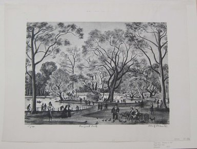 Adolf Arthur Dehn (American, 1895-1968). <em>Prospect Park</em>, 1945. Lithograph on Rives paper, Sheet: 14 3/4 x 19 1/2 in. (37.5 x 49.5 cm). Brooklyn Museum, Gift of Berry-Hill Galleries, Inc., 83.81. © artist or artist's estate (Photo: Brooklyn Museum, CUR.83.81.jpg)
