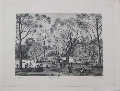 Adolf Arthur Dehn (American, 1895-1968). <em>Prospect Park</em>, 1945. Lithograph on Rives paper, Sheet: 14 3/4 x 19 1/2 in. (37.5 x 49.5 cm). Brooklyn Museum, Gift of Berry-Hill Galleries, Inc., 83.81. © artist or artist's estate (Photo: Brooklyn Museum, CUR.83.81.jpg)