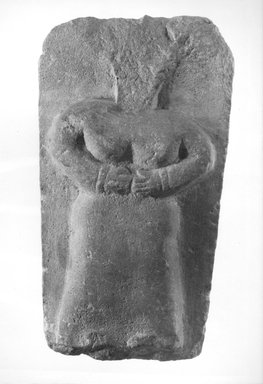<em>Stela with Standing Woman</em>, 1st century B.C.E.-3rd century C.E. Limestone, 9 5/16 x 5 1/16 in. (23.6 x 12.9 cm). Brooklyn Museum, Gift of Dr. and Mrs. Richard H. Kessler, 84.129.1. Creative Commons-BY (Photo: Brooklyn Museum, CUR.84.129.1_NegA_print_bw.jpg)