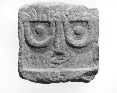 <em>Stela with Standing Face</em>, 1st century B.C.E.-3rd century C.E. Limestone, 6 1/2 x 2 5/16 x 6 1/2 in. (16.5 x 5.9 x 16.5 cm). Brooklyn Museum, Gift of Dr. and Mrs. Richard H. Kessler, 84.129.2. Creative Commons-BY (Photo: Brooklyn Museum, CUR.84.129.2_NegA_print_bw.jpg)