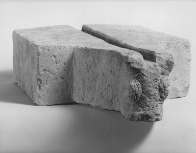<em>Altar or Water Spout with Bucranium</em>, 1st century B.C.E.-3rd century C.E. Limestone, 2 13/16 x 8 1/16 x 11 3/4 in. (7.1 x 20.4 x 29.8 cm). Brooklyn Museum, Gift of Dr. and Mrs. Richard H. Kessler, 84.129.8. Creative Commons-BY (Photo: Brooklyn Museum, CUR.84.129.8_NegA_print_bw.jpg)