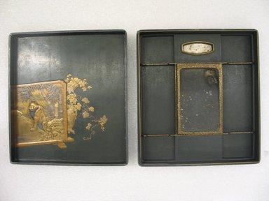 <em>Suzuribako (Inkstone Box)</em>, 19th century. Lacquer on wood, 1 3/4 x 8 1/2 x 9 1/2 in. (4.4 x 21.6 x 24.1 cm). Brooklyn Museum, Gift of Dr. and Mrs. Charles Perera, 84.141.2a-b. Creative Commons-BY (Photo: Brooklyn Museum, CUR.84.141.2a-b_interior.jpg)