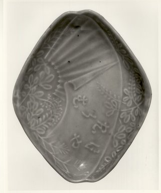 <em>Dish</em>, 19th century. Glazed stoneware; either Bizen or Arita ware, 1 x 6 5/8 in. (2.5 x 16.8 cm). Brooklyn Museum, Gift of Dr. and Mrs. Malcolm Idelson, 84.190.6. Creative Commons-BY (Photo: Brooklyn Museum, CUR.84.190.6_bw.jpg)