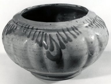 <em>Cizhou Ware Jar</em>, 12th century. Gray stoneware, 3 1/4 x 5 1/2 in. (8.3 x 14 cm). Brooklyn Museum, Gift of Dr. Ralph C. Marcove, 84.198.11. Creative Commons-BY (Photo: Brooklyn Museum, CUR.84.198.11_bw.jpg)