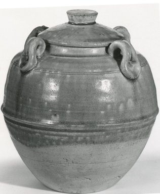 <em>Early Northern Celadon Jar with Lid</em>, 6th-7th century. Buff stoneware, 7 3/4 x 6 1/2 in. (19.7 x 16.5 cm). Brooklyn Museum, Gift of Dr. Ralph C. Marcove, 84.198.12a-b. Creative Commons-BY (Photo: Brooklyn Museum, CUR.84.198.12a-b_bw.jpg)