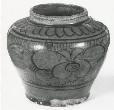 <em>Cizhou Ware Jar</em>, 13th-14th century. Earthenware, 3 5/8 x 4 in. (9.2 x 10.2 cm). Brooklyn Museum, Gift of Dr. Ralph C. Marcove, 84.198.20. Creative Commons-BY (Photo: Brooklyn Museum, CUR.84.198.20_bw.jpg)