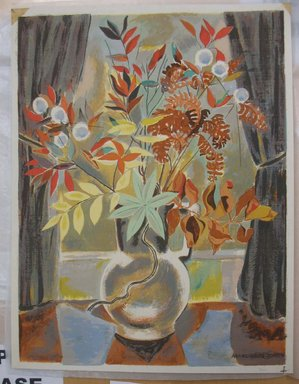 Marguerite Thompson Zorach (American, 1887-1968). <em>Still Life</em>. Silkscreen, Sheet: 17 3/16 x 13 3/16 in. (43.7 x 33.5 cm). Brooklyn Museum, Gift of the collection of the Zorach children, 84.45.7. © artist or artist's estate (Photo: Brooklyn Museum, CUR.84.45.7.jpg)
