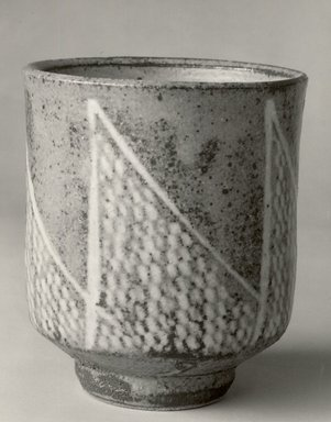 Shimaoka Tatsuzo (Japanese, 1919-2007). <em>Slip-Inland Tea Cup</em>, ca. 1978. Buff Stoneware, 3 7/8 x 3 1/4 in. (9.8 x 8.3 cm). Brooklyn Museum, Gift of John M. Lyden, 84.70.2. Creative Commons-BY (Photo: Brooklyn Museum, CUR.84.70.2_bw.jpg)