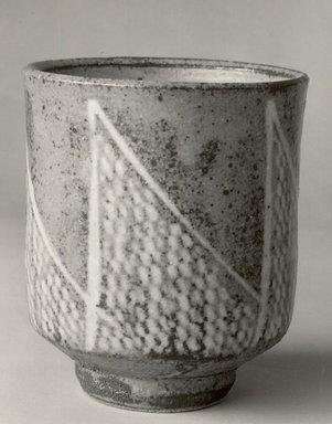 Shimaoka Tatsuzo (Japanese, 1919-2007). <em>Slip-Inland Tea Cup</em>, ca. 1978. Buff Stoneware, 3 7/8 x 3 1/4 in. (9.8 x 8.3 cm). Brooklyn Museum, Gift of John M. Lyden, 84.70.2. Creative Commons-BY (Photo: Brooklyn Museum, CUR.84.70.2_bw.jpg)