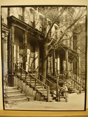Nakamura Nobuo (Japanese, born 1946). <em>Old Apartment and Man (39 East 128th Street)</em>, 1983. Gelatin silver photograph, 10 × 8 in. (25.4 × 20.3 cm). Brooklyn Museum, Gift of the artist, 84.95.4. © artist or artist's estate (Photo: Brooklyn Museum, CUR.84.95.4.jpg)