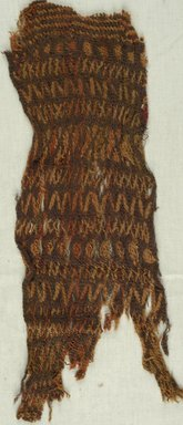 Coptic. <em>Knotted Fragment</em>, 9th century C.E. Wool, 5 9/16 x 14 15/16 in. (14.2 x 38 cm). Brooklyn Museum, Gift of Philip Gould, 85.165.2. Creative Commons-BY (Photo: Brooklyn Museum (in collaboration with Index of Christian Art, Princeton University), CUR.85.165.2_ICA.jpg)