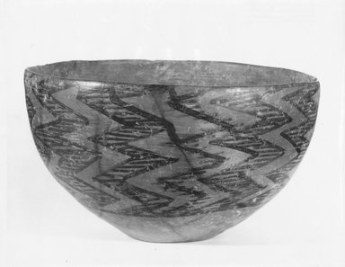 Sialk II. <em>Bowl</em>, ca. 3800 B.C.E. Clay, slip, 5 3/16 x 8 3/8 in. (13.1 x 21.2 cm). Brooklyn Museum, Special Middle Eastern Art Fund and Designated Purchase Fund, 85.17.2. Creative Commons-BY (Photo: Brooklyn Museum, CUR.85.17.2_NegA_print_bw.jpg)
