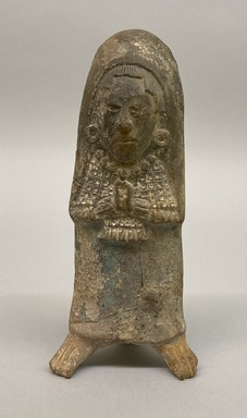 Maya. <em>Woman with Folded Hands (Whistle)</em>, 300-800. Ceramic, traces of pigment, 6 3/8 × 2 7/8 × 2 1/4 in. (16.2 × 7.3 × 5.7 cm). Brooklyn Museum, Gift of Frederic Zeller, 85.262.4. Creative Commons-BY (Photo: Brooklyn Museum, CUR.85.262.4_view01.jpg)