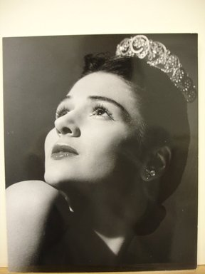 Philippe Halsman (American, born Latvia, 1906-1979). <em>[Untitled]  (Brunette Woman Looking Up to the Left Wearing Tiara)</em>, 1944. Gelatin silver photograph Brooklyn Museum, Gift of Dr. and Mrs. Arthur E. Kahn, 85.294.17. © artist or artist's estate (Photo: Brooklyn Museum, CUR.85.294.17.jpg)