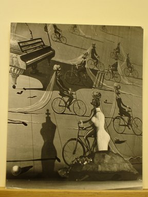 Philippe Halsman (American, born Latvia, 1906-1979). <em>[Untitled]  (Mannequin Body with Shadow against Painting of Piano and Men on Bicycles)</em>, 1944. Gelatin silver photograph Brooklyn Museum, Gift of Dr. and Mrs. Arthur E. Kahn, 85.294.19. © artist or artist's estate (Photo: Brooklyn Museum, CUR.85.294.19.jpg)