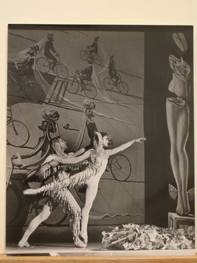 Philippe Halsman (American, born Latvia, 1906-1979). <em>[Untitled]  (Male and Female Ballet Dancers in Front of Painting of Men on Bicycles)</em>, 1944. Gelatin silver photograph Brooklyn Museum, Gift of Dr. and Mrs. Arthur E. Kahn, 85.294.28. © artist or artist's estate (Photo: Brooklyn Museum, CUR.85.294.28.jpg)