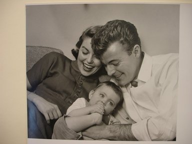 Philippe Halsman (American, born Latvia, 1906-1979). <em>Margaret Wise Brown with her Husband and Young Child</em>. Gelatin silver photograph, image: 9 x 10 in. (22.9 x 25.4 cm). Brooklyn Museum, Gift of Dr. and Mrs. Arthur E. Kahn, 85.294.4. © artist or artist's estate (Photo: Brooklyn Museum, CUR.85.294.4.jpg)