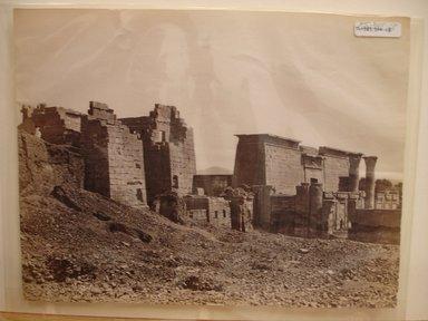 Pascal Sébah (Turkish, 1823-1886). <em>Temple at Medinet Habu</em>, late 19th century. Albumen silver photograph Brooklyn Museum, Gift of Matthew Dontzin, 85.305.18 (Photo: Brooklyn Museum, CUR.85.305.18.jpg)