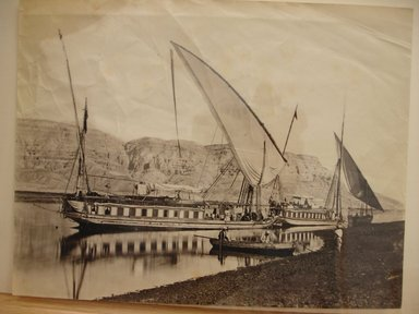 Frank Mason Good (English, 1839-1911). <em>Riverboats on the Nile</em>, late 19th century. Albumen silver photograph, image/sheet: 7 3/4 x 10 1/4 in. (19.7 x 26 cm). Brooklyn Museum, Gift of Matthew Dontzin, 85.305.28 (Photo: Brooklyn Museum, CUR.85.305.28.jpg)