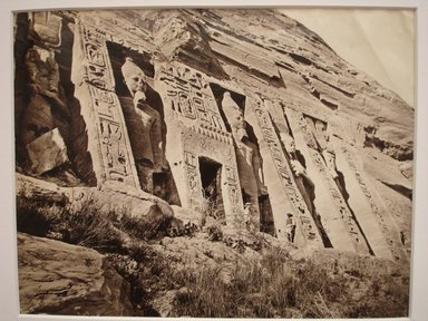 Frank Mason Good (English, 1839-1911). <em>Nefertari's Temple at Abu Simbel</em>, mid to late 19th century. Albumen silver photograph, image/sheet: 7 3/4 x 10 1/4 in. (19.7 x 26 cm). Brooklyn Museum, Gift of Matthew Dontzin, 85.305.32 (Photo: Brooklyn Museum, CUR.85.305.32.jpg)