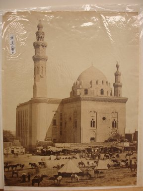Wihelm Hammerschmidt (German, died 1869). <em>Sultan Hassan Madrasa Mosque in Cairo</em>, mid-19th century. Albumen silver photograph, image/sheet: 7 3/4 x 10 1/4 in. (19.7 x 26 cm). Brooklyn Museum, Gift of Matthew Dontzin, 85.305.36 (Photo: Brooklyn Museum, CUR.85.305.36.jpg)