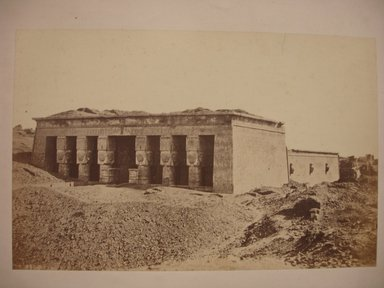 Wihelm Hammerschmidt (German, died 1869). <em>Temple of Hathor at Dendera (Dendur)</em>, mid-19th century. Albumen silver photograph, image/sheet: 7 3/4 x 10 1/4 in. (19.7 x 26 cm). Brooklyn Museum, Gift of Matthew Dontzin, 85.305.38 (Photo: Brooklyn Museum, CUR.85.305.38.jpg)