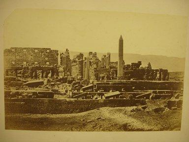 Wihelm Hammerschmidt (German, died 1869). <em>Temple of Karnak</em>, mid-19th century. Albumen silver photograph, image/sheet: 7 3/4 x 10 1/4 in. (19.7 x 26 cm). Brooklyn Museum, Gift of Matthew Dontzin, 85.305.39 (Photo: Brooklyn Museum, CUR.85.305.39.jpg)