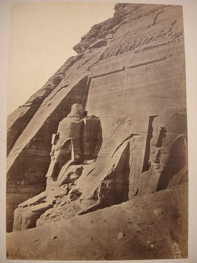 Wihelm Hammerschmidt (German, died 1869). <em>South Temple of Ramsses II at Abu Simbel</em>, mid-19th century. Albumen silver photograph, image/sheet: 7 3/4 x 10 1/4 in. (19.7 x 26 cm). Brooklyn Museum, Gift of Matthew Dontzin, 85.305.42 (Photo: Brooklyn Museum, CUR.85.305.42.jpg)