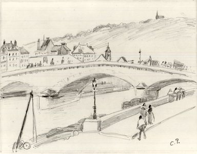 Camille Jacob Pissarro (French, 1830-1903). <em>Stone Bridge, Rouen (Pont de Pierre, Rouen)</em>, 1883. Pencil on light wove paper, Sheet: 7 1/2 x 8 7/8 in. (19.1 x 22.5 cm). Brooklyn Museum, A. Augustus Healy Fund and Carll H. de Silver Fund, 85.40.1 (Photo: Brooklyn Museum, CUR.85.40.1.jpg)