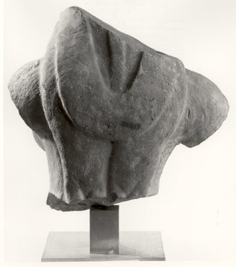 <em>Bust of a Yaksi</em>, ca. 2nd century. Mottled red sandstone, 14 1/2 x 15 1/2 x 10 1/2 in. Brooklyn Museum, Gift of Mr. and Mrs. Leonidas Goulandris, 85.65. Creative Commons-BY (Photo: Brooklyn Museum, CUR.85.65_back_bw.jpg)