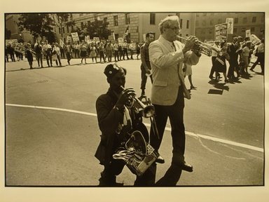 Robert Sefcik (American, born 1948). <em>[Untitled] (Pro-Vietnam War Demonstration Parade in Washington, D.C.)</em>, 1970. Gelatin silver photograph, Sheet: 11 x 14 in. (27.9 x 35.6 cm). Brooklyn Museum, Gift of Cynthia K. Yanowitz, 85.94.3. © artist or artist's estate (Photo: Brooklyn Museum, CUR.85.94.3.jpg)