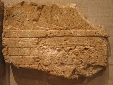 <em>Building Scene</em>, ca. 1352-1347 B.C.E. Sandstone, pigment, 7 1/2 x 10 7/16 x 1 3/16 in. (19 x 26.5 x 3 cm). Brooklyn Museum, Gift of William Kelly Simpson, 86.132. Creative Commons-BY (Photo: Brooklyn Museum, CUR.86.132_wwg7.jpg)