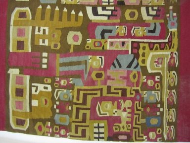 Wari. <em>Tunic</em>, 600-1000 C.E. Cotton, camelid fiber, 39 x 43 11/16 in.  (99 x 111 cm). Brooklyn Museum, Gift of the Ernest Erickson Foundation, Inc., 86.224.1. Creative Commons-BY (Photo: Brooklyn Museum, CUR.86.224.1_detail01.jpg)