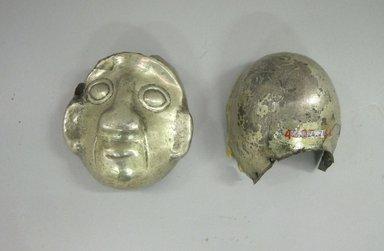 Chimú. <em>Head</em>, 1000-1500. Gold, 3 3/8 x 2 3/4 x 2 3/4in. (8.6 x 7 x 7cm). Brooklyn Museum, Gift of the Ernest Erickson Foundation, Inc., 86.224.21. Creative Commons-BY (Photo: Brooklyn Museum, CUR.86.224.21a-b.jpg)