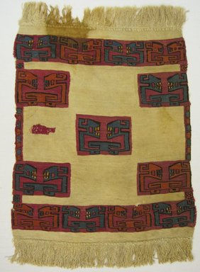 Nazca-Wari (attribution by Nobuko Kajatani, 1993). <em>Tunic Fragment</em>, 700-850 C.E. Camelid fiber, 21 1/4 x 14 3/16in. (54 x 36cm). Brooklyn Museum, Gift of the Ernest Erickson Foundation, Inc., 86.224.28. Creative Commons-BY (Photo: Brooklyn Museum, CUR.86.224.28.jpg)