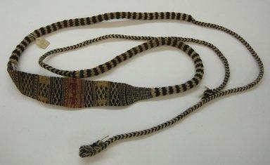 Inca (attrib by Nobuko Kajatani, 1993). <em>Sling</em>, 1000-1532. Textile. Cotton, camelid fiber, 1 15/16 x 92 1/8 in. (5 x 234 cm). Brooklyn Museum, Gift of the Ernest Erickson Foundation, Inc., 86.224.67. Creative Commons-BY (Photo: Brooklyn Museum, CUR.86.224.67.jpg)