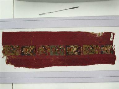 Coastal Wari (attrib by Nobuko Kajatani, 1993). <em>Mantle or Mantle Border Fragment</em>, 600-1000. Cotton, camelid fiber, 21 1/16 x 6 7/8 in. (53.5 x 17.5 cm). Brooklyn Museum, Gift of the Ernest Erickson Foundation, Inc., 86.224.72. Creative Commons-BY (Photo: Brooklyn Museum, CUR.86.224.72.jpg)