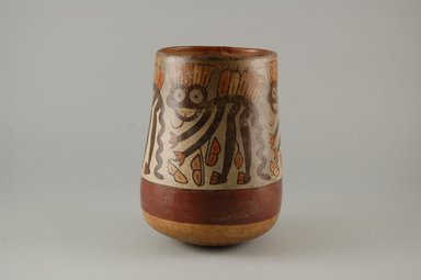 Nazca. <em>Jar</em>, 325-440. Ceramic, pigments, 6 x 3 3/4 x 3 3/4 in. (15.2 x 9.5 x 9.5 cm). Brooklyn Museum, Gift of the Ernest Erickson Foundation, Inc., 86.224.8. Creative Commons-BY (Photo: Brooklyn Museum, CUR.86.224.8_view1.jpg)