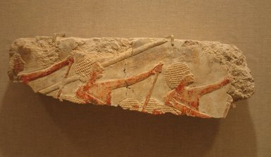 <em>Relief of Oarsmen and Dancers</em>, ca. 1479-1457 B.C.E. Limestone, pigment, 3 15/16 x 13 1/8 in. (10 x 33.3 cm). Brooklyn Museum, Gift of the Ernest Erickson Foundation, Inc., 86.226.7. Creative Commons-BY (Photo: Brooklyn Museum, CUR.86.226.7_wwg8.jpg)