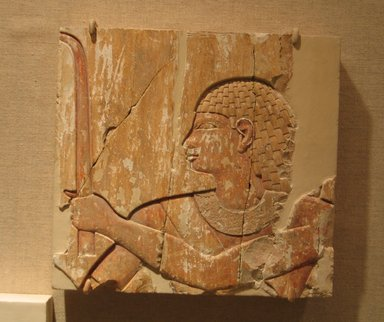 Egyptian. <em>Sunk Relief of a Man</em>, ca. 670-650 B.C.E. Limestone, pigment, 6 5/8 x 7 in. (16.8 x 17.8 cm). Brooklyn Museum, Gift of the Ernest Erickson Foundation, Inc., 86.226.8. Creative Commons-BY (Photo: Brooklyn Museum, CUR.86.226.8_wwg8.jpg)