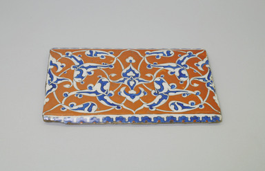 <em>Rectangular Tile</em>, ca. 1575. Ceramic, 10 3/16 x 9/16 x 5 7/8 in. (25.8 x 1.4 x 14.9 cm). Brooklyn Museum, Gift of the Ernest Erickson Foundation, Inc., 86.227.142. Creative Commons-BY (Photo: Brooklyn Museum, CUR.86.227.142.jpg)