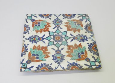 <em>Tile</em>, 16th century. Ceramic, cobalt-blue, turquoise, red and white glazes, 9 1/2 x 9 11/16 x 9 9/16 in. (24.1 x 24.6 x 24.3 cm). Brooklyn Museum, Gift of the Ernest Erickson Foundation, Inc., 86.227.200. Creative Commons-BY (Photo: Brooklyn Museum, CUR.86.227.200.jpg)
