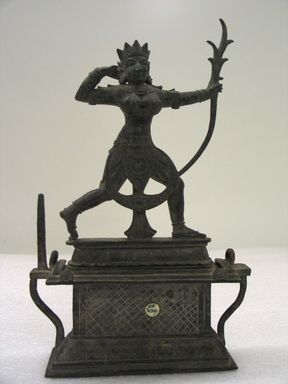 Vijayanagara. <em>Female Deity, probably Rati</em>, 14th century or later. Bronze, with stand: 12 3/4 x 8 x 2 1/4 in. (32.4 x 20.3 x 5.7 cm). Brooklyn Museum, Gift of the Ernest Erickson Foundation, Inc., 86.227.26. Creative Commons-BY (Photo: , CUR.86.227.26_front.jpg)