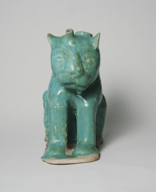 <em>Aquamanile in the Form of a Lion</em>, 12th century. Ceramic, glaze, 7 11/16 x 4 5/16 x 6 7/8 in. (19.5 x 11 x 17.5 cm). Brooklyn Museum, Gift of the Ernest Erickson Foundation, Inc., 86.227.6. Creative Commons-BY (Photo: Brooklyn Museum, CUR.86.227.6_front.jpg)