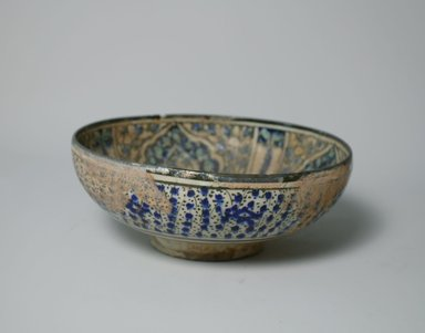 <em>Bowl</em>, early 14th century. Ceramic, blue, black and turquoise underglaze decoration, transparent colorless glaze, 3 3/8 x 8 1/8 in. (8.6 x 20.7 cm). Brooklyn Museum, Gift of the Ernest Erickson Foundation, Inc., 86.227.78. Creative Commons-BY (Photo: Brooklyn Museum, CUR.86.227.78_exterior.jpg)